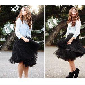 Chickwish black amore tulle midi black skirt